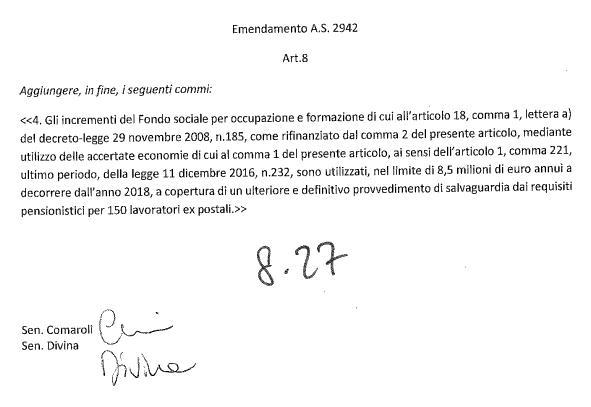 testo emendamento
