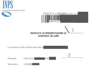 esempio di ricevuta del protocollo INPS